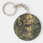 Florals on wood with splotched paint. basic round button key ring