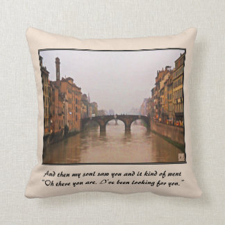 Florence Bridge With Love Quote Throw Pillows