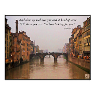 Florence Bridge With Love Quote Postcard