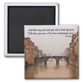 Florence Bridge With Love Quote Square Magnet