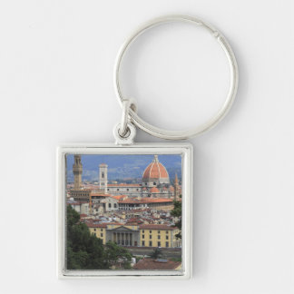 Florence Cityscape Silver-Colored Square Key Ring