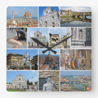 Florence collage square wall clock