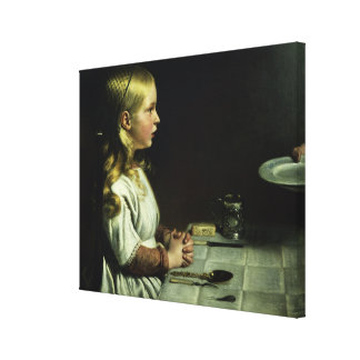 Florence Cope Saying Grace at Dinnertime Canvas Print