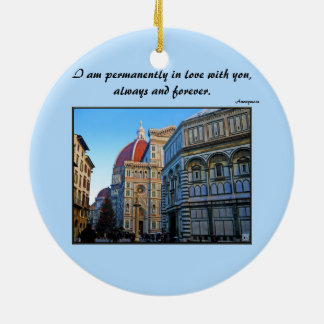 Florence Duomo Cathedral with Love Quote Christmas Ornaments