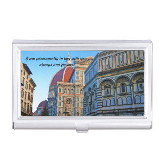 Florence Duomo Cathedral with Love Quote Business Card Holder