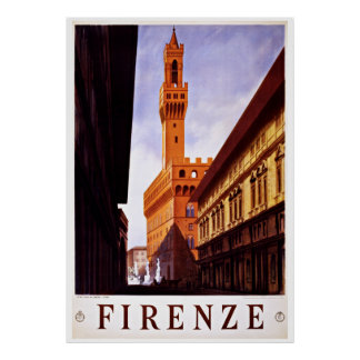Florence Firenze Italy - Vintage Travel Posters