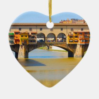 Florence -Firenze, Ponte vecchio Ceramic Heart Decoration