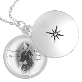 Florence Nightingale-Nursing Graduate+Personalize Round Locket Necklace