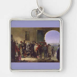 Florence Nightingale Receiving the Wounded Scutari Silver-Colored Square Key Ring