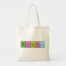 Bag featuring the name Florence spelled out in symbols of the chemical elements
