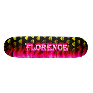Florence skateboard pink fire and flames design