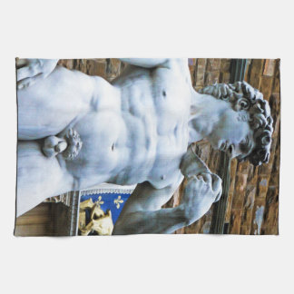 Florence Statue of David With Love Quote Tea Towel