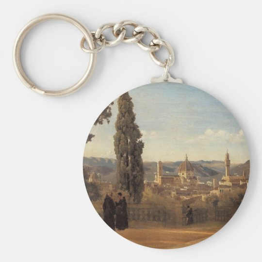 Florence, The Boboli Gardens by Camille Corot Basic Round Button Key Ring