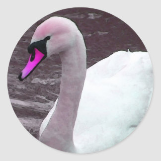 Florence The Pink Swan Round Sticker