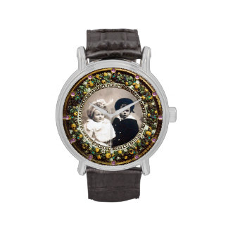 FLORENTINE BROWN FLORAL CROWN PHOTO TEMPLATE WATCH
