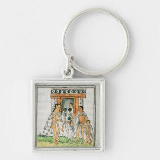 Florentine Codex' by Bernardino de Sahagun Silver-Colored Square Key Ring