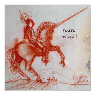 FLORENTINE KNIGHT ON HORSEBACK  parchment 13 Cm X 13 Cm Square Invitation Card