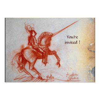 FLORENTINE KNIGHT ON HORSEBACK  parchment 13 Cm X 18 Cm Invitation Card