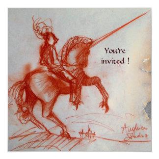 "FLORENTINE KNIGHT ON HORSEBACK parchment champagne 5.25"" Square Invitation Card"