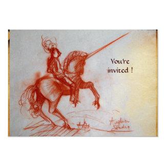 FLORENTINE KNIGHT ON HORSEBACK parchment  ice 13 Cm X 18 Cm Invitation Card