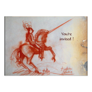 "FLORENTINE KNIGHT ON HORSEBACK  parchment 5"" X 7"" Invitation Card"