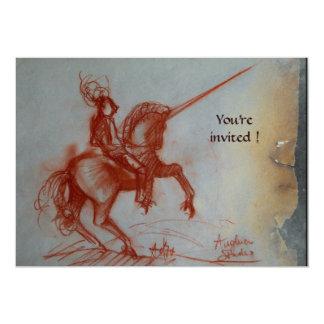 FLORENTINE KNIGHT ON HORSEBACK parchment  silver 13 Cm X 18 Cm Invitation Card