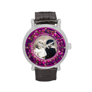 FLORENTINE PINK FLORAL CROWN PHOTO TEMPLATE WRIST WATCHES