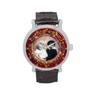 FLORENTINE RED FLORAL CROWN PHOTO TEMPLATE WRISTWATCH
