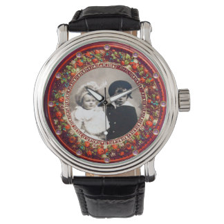FLORENTINE RED FLORAL CROWN PHOTO TEMPLATE WATCHES