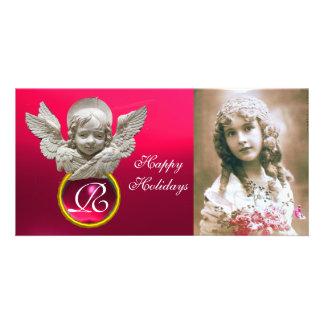 FLORENTINE RENAISSANCE ANGEL Fuchsia Gem Monogram Personalized Photo Card