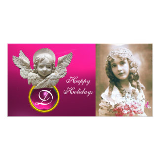 FLORENTINE RENAISSANCE ANGEL Fuchsia Gem Monogram Photo Card Template