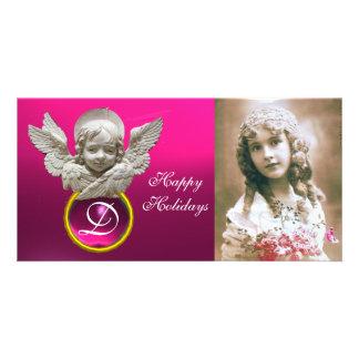 FLORENTINE RENAISSANCE ANGEL Fuchsia Gem Monogram Picture Card