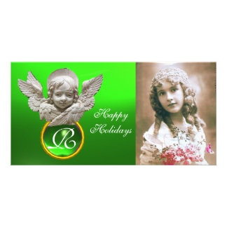 FLORENTINE RENAISSANCE ANGEL Green Gem Monogram Photo Greeting Card