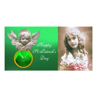 FLORENTINE RENAISSANCE ANGEL Green Shamrock  Gem Customised Photo Card