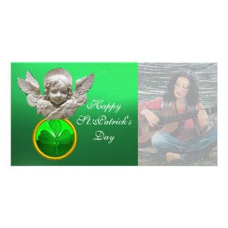 FLORENTINE RENAISSANCE ANGEL Green Shamrock  Gem Photo Greeting Card