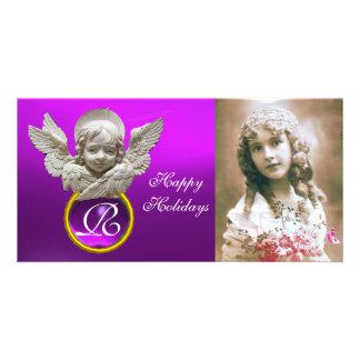 FLORENTINE RENAISSANCE ANGEL Purple Gem Monogram Photo Cards