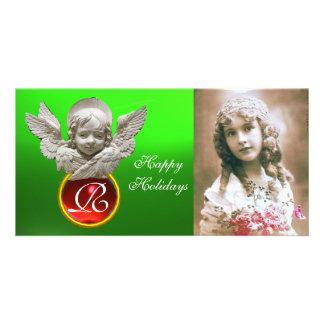 FLORENTINE RENAISSANCE ANGEL Red Gem Monogram Personalized Photo Card