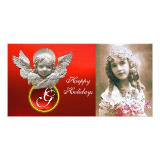 FLORENTINE RENAISSANCE ANGEL Red Ruby Gem Monogram Customised Photo Card