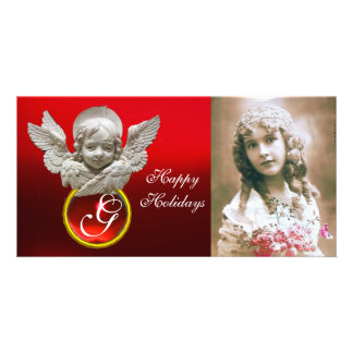 FLORENTINE RENAISSANCE ANGEL Red Ruby Gem Monogram Photo Card Template