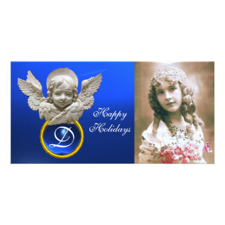 FLORENTINE RENAISSANCE ANGEL Sapphire Gem Monogram Customised Photo Card