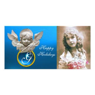 FLORENTINE RENAISSANCE ANGEL Sapphire Gem Monogram Photo Greeting Card