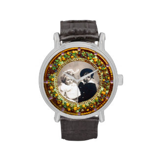 FLORENTINE YELLOW  FLORAL CROWN PHOTO TEMPLATE WRIST WATCHES
