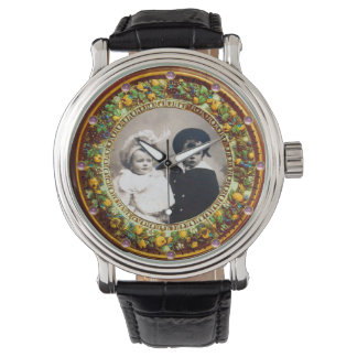 FLORENTINE YELLOW  FLORAL CROWN PHOTO TEMPLATE WRISTWATCHES