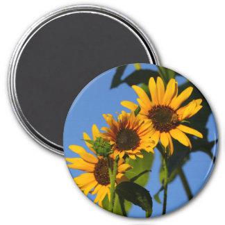 """Flores en mi hierbas """" flowers in my weeds """" 7.5 cm round magnet"""