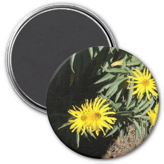 """Flores en mi hierbas """"Flowers in my Weeds"""" 7.5 Cm Round Magnet"""