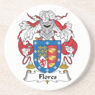 Flores Family Crest Beverage Coasters