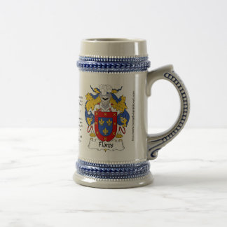 Flores Family Crest Stein Coffee Mugs