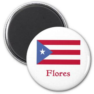 Flores Puerto Rican Flag 6 Cm Round Magnet