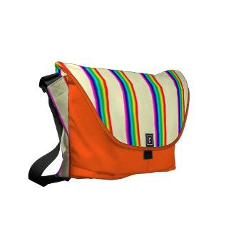 Floresant Orange Bag With Rainbow Stripes. Courier Bags