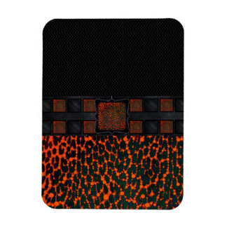 Florescent Bling Cheetah Monogram Rectangular Photo Magnet